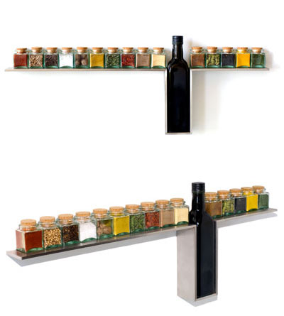 1-Line Spice Rack for minimalist kitchen from Jay Johnson and Irwin Weiner