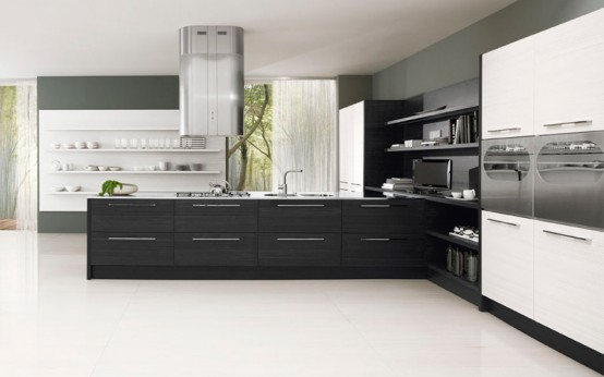 Black and white kitchen cabinets contrast design gives a for Black and white kitchen cabinet designs