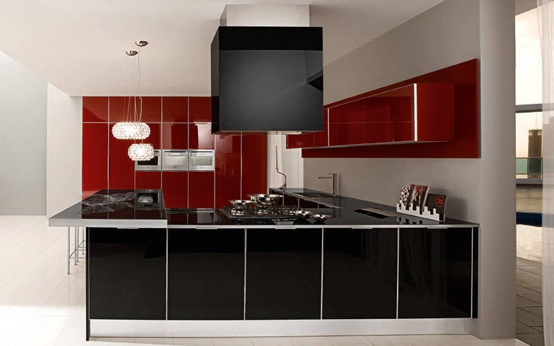 Contrasting Red And Black Color Ultra Modern Kitchen