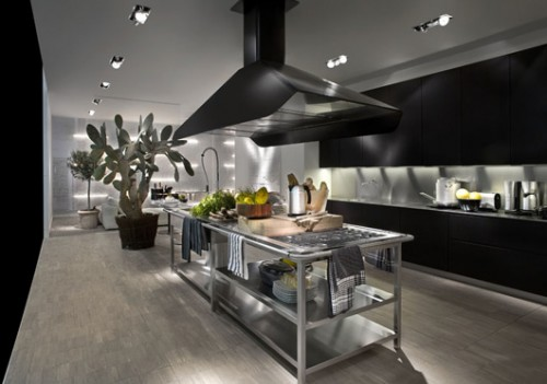 Excellent stainless steel kitchen combine with wooden for The combine kitchen