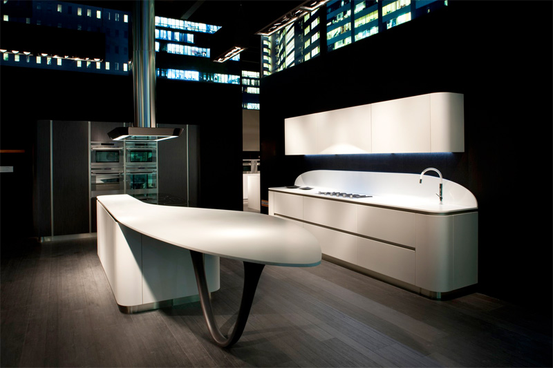 Futuristic Kitchen Design Characterized By Smooth Rounded Lines Of Corners Kitchen Design