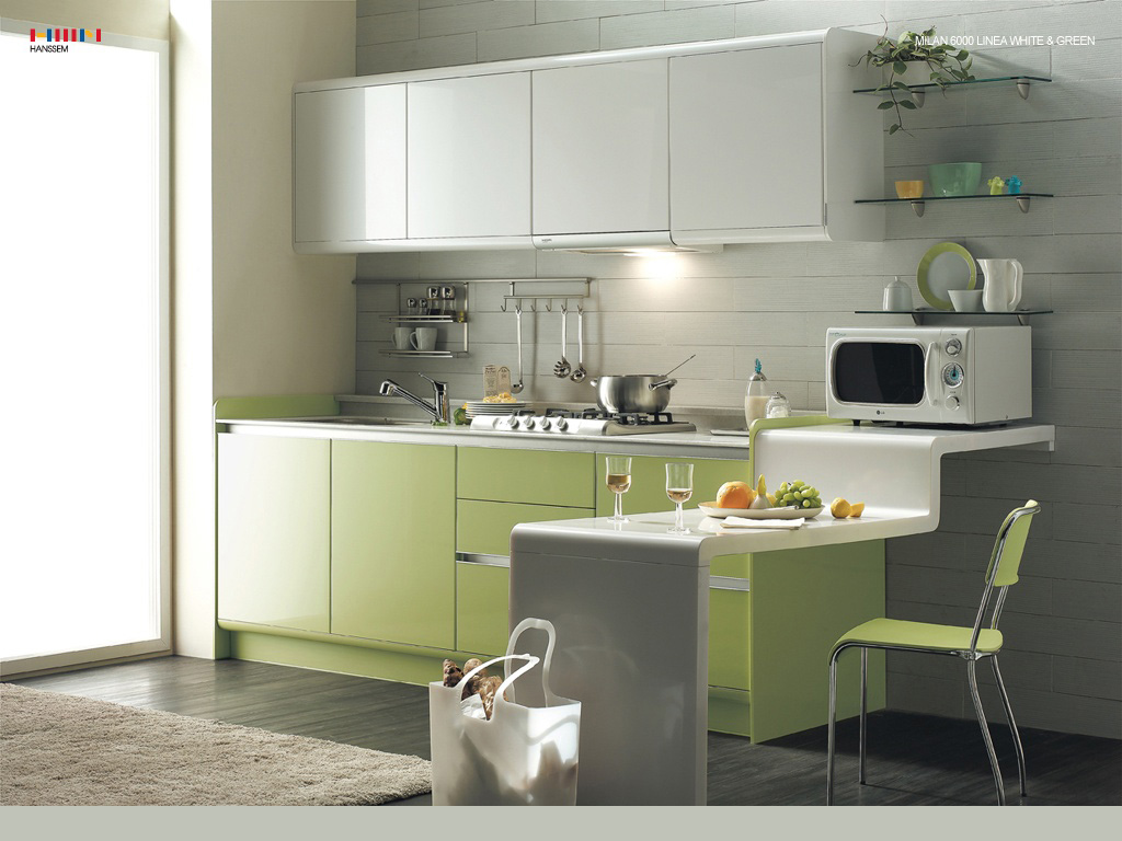 Green kitchen modern interior design ideas with white for Interior design ideas for kitchen cabinets
