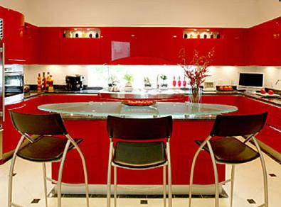 Red Kitchen Cabinets Design with a glossy finish colors by Snaidero