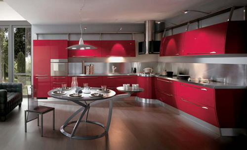 Red Kitchen Color Trends by Scavolini