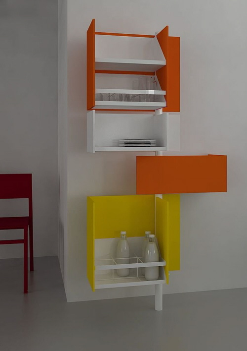 Rotated kitchen cabinets for small kitchen