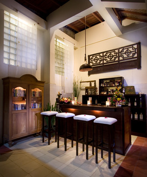 balinese kitchen pantry with antique style lamps hang and wood ...