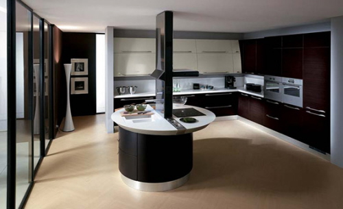 curved kitchen island in interior decoration by Scavolini
