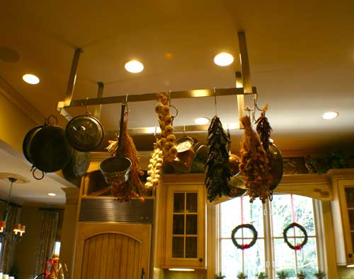 hanging utensil rack of modern country kitchen