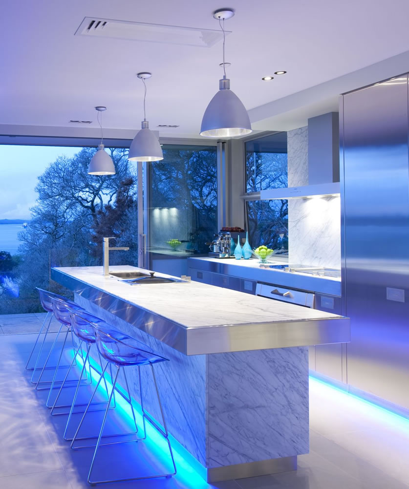 Kitchen lighting in blue light with european kitchen style Kitchen