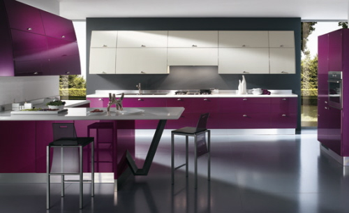 purple Kitchen Color Trends in interior decoration by Scavolini