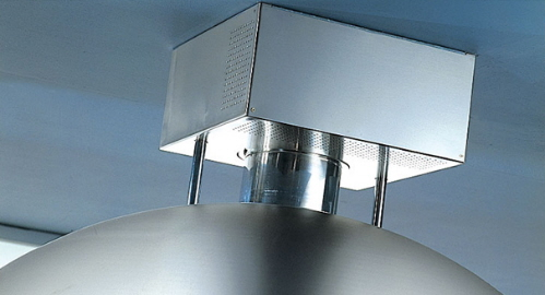 round kitchen island features over head lighting hood vent and double sink