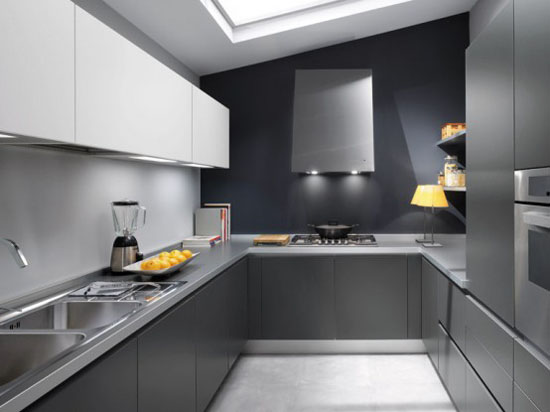 white grey and black modern Kitchen design picture by Ernestomeda 01