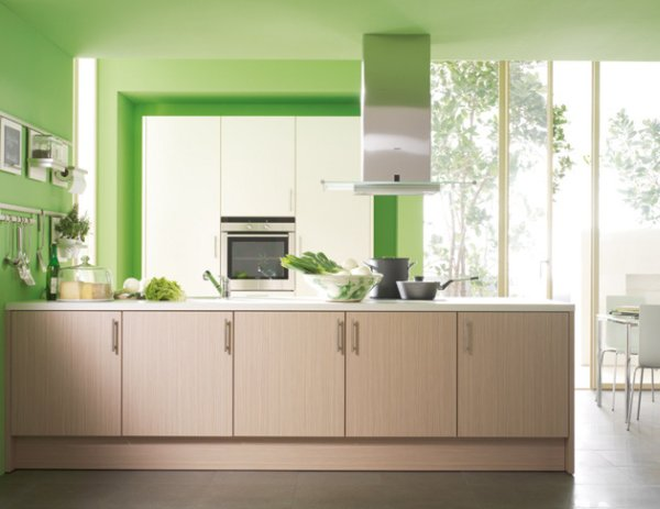 wood brown kitchen cabinet green wall